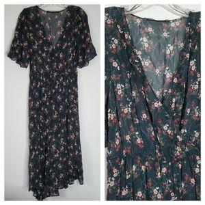 Zara Basic Sheer Floral Print Midi